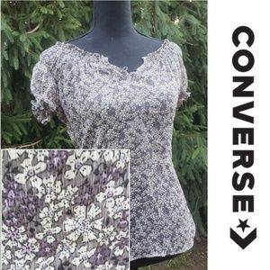 Converse semi-sheer purple gray floral Extra Small
